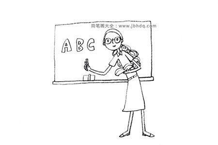 漂亮的老师简笔画图片