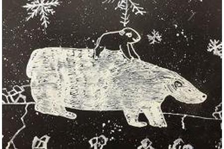 儿童画 灰熊宝宝和妈妈