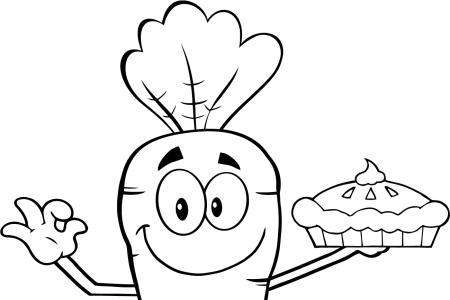 卡通胡萝卜拿着一个派