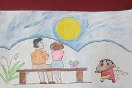 中秋节题材儿童画-蜡笔小新中秋赏月
