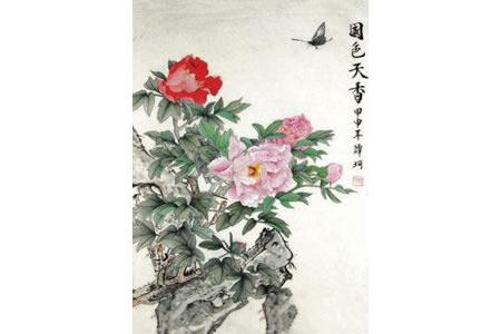 国画花鸟考级国色天香的牡丹花