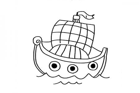 一组漂亮的帆船简笔画图片