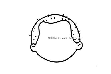 一组小男孩的头部轮廓简笔画图片