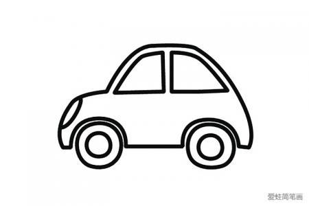 两张简单的小轿车简笔画图片