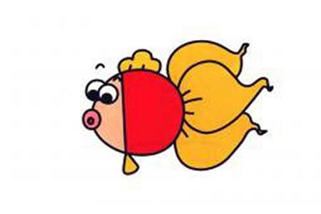 胖嘟嘟的金鱼简笔画