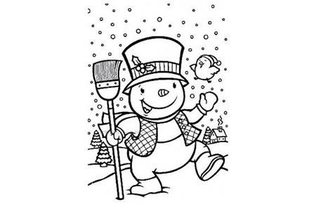 拿着扫帚的雪人简笔画