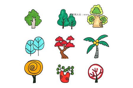 大树、盆栽的彩色手帐简笔画