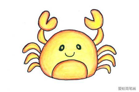 画一只可爱的小螃蟹简笔画