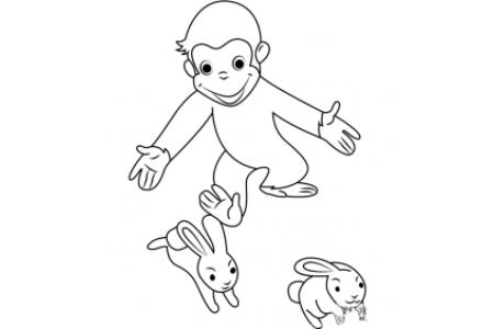 猴子追兔子简笔画图片
