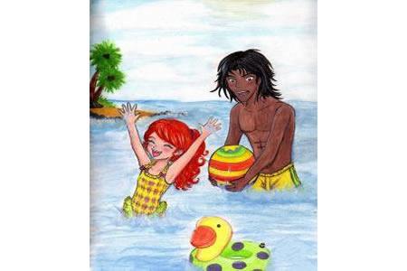 游泳的快乐夏天主题绘画作品欣赏