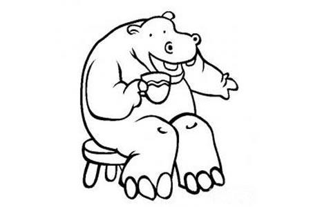 动物简笔画图片 卡通河马简笔画