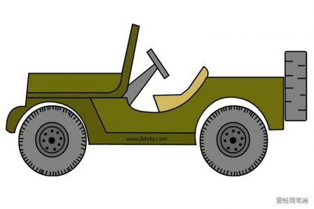 jeep敞篷吉普车简笔画带颜色