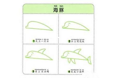 幼儿海洋生物简笔画教程之海豚