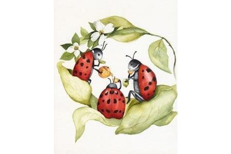 动物一家人水彩画之七星瓢虫的下午茶