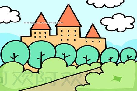 漂亮的城堡简笔画图片