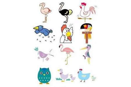 幼儿园彩色动物简笔画图片