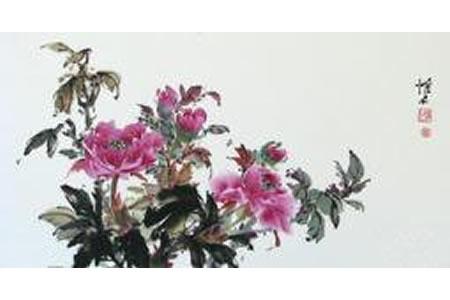 艳丽的牡丹花写意牡丹国画