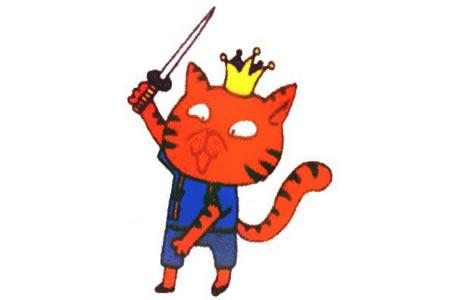 戴皇冠的加菲猫简笔画教程