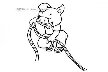 小猪拉绳子