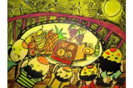 迎中秋节的儿童画-玉兔忙着送月饼