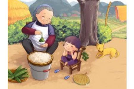 端午节粽子儿童画-看奶奶包粽子