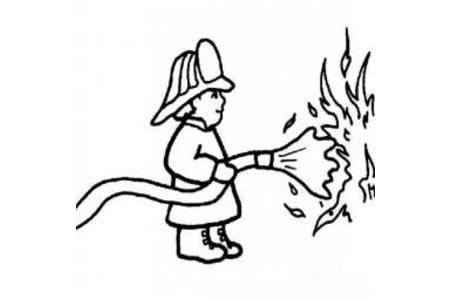 在灭火的消防员简笔画