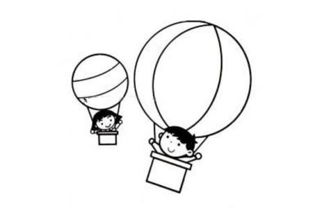 小孩乘坐热气球的简笔图片