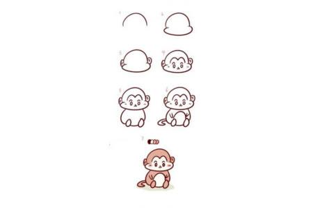 可爱的猴子简笔画教程