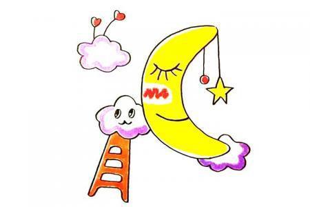 画可爱的卡通月亮简笔画