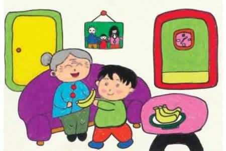 重阳节儿童画作品-给奶奶过重阳节