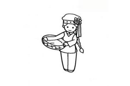 保安族小女孩简笔画