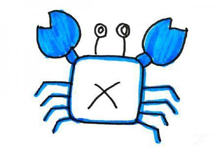 海洋风格螃蟹简笔画图片大全