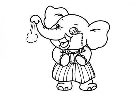 大象奶奶简笔画图片