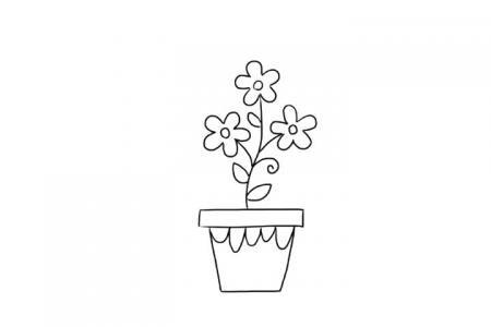 盆栽花草儿童亲子简笔画
