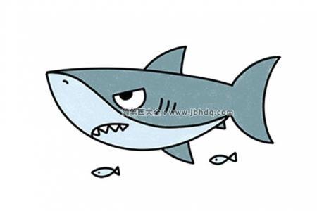 2张凶猛的鲨鱼简笔画图片