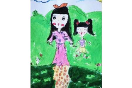 和妈妈一起去春游三八妇女节主题画欣赏