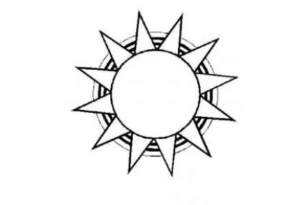 七张太阳的简笔画画法