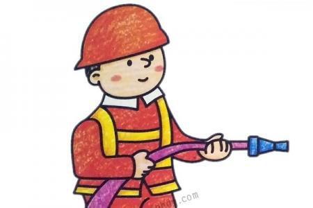 可爱的消防员简笔画图片