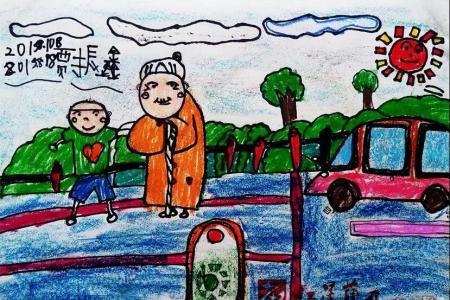 重阳节尊老儿童画欣赏-扶老奶奶过马路