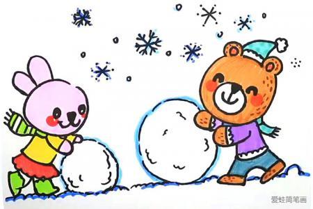 画小熊和小兔滚滚球的简笔画