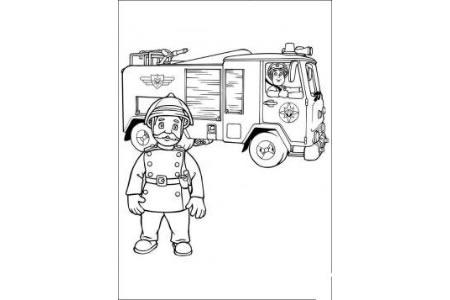 消防员和消防车简笔画