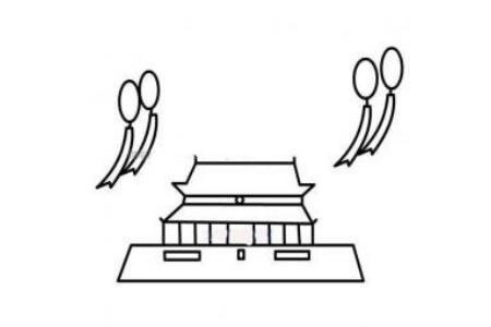 迎接国庆的北京天安门简笔画
