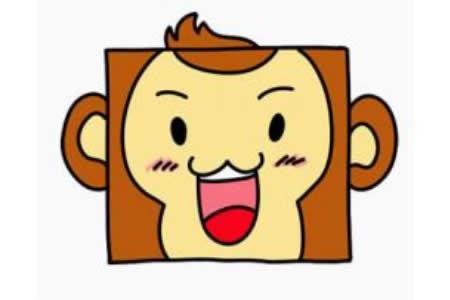 幼儿猴子头像简笔画画法