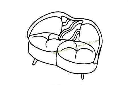 双人位沙发简笔画图片