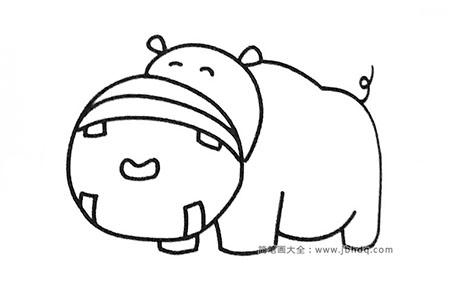 六张可爱的卡通河马简笔画图片