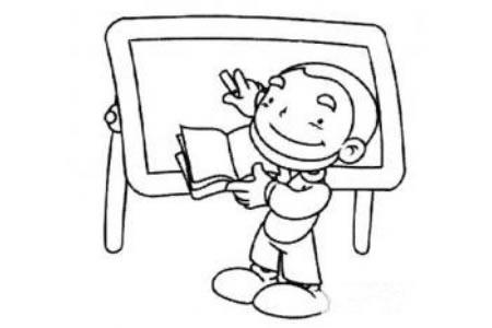老师黑板上教学简笔画