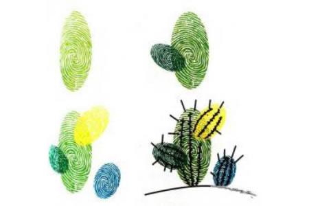 仙人掌儿童创意指印画图片