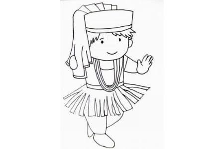 蒙古族小女孩简笔画