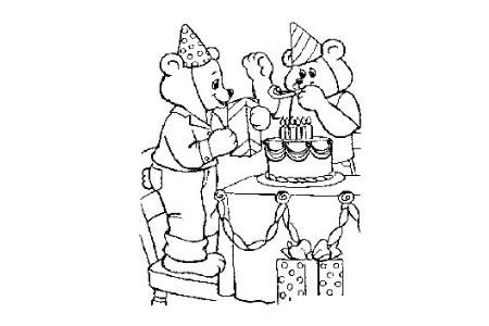 小熊过生日简笔画图片