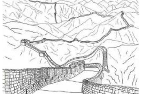 世界著名建筑 中国长城简笔画图片